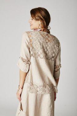 Jacket lace details linen
