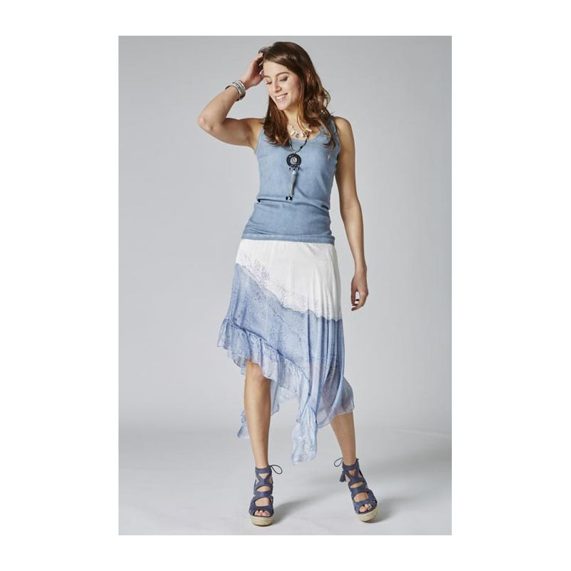 Ombre silk asy skirt