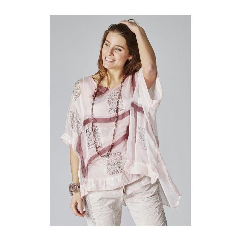 Printed silk blouse sequins details