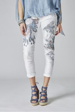 Printed pants with shiny pearls