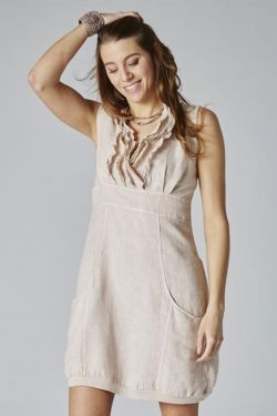 Short dress V-Line ruffles linen