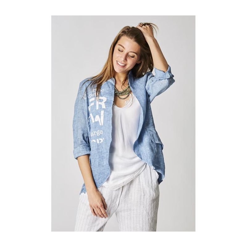 Linen jacket with writing