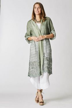 Long linen/lace cardigan
