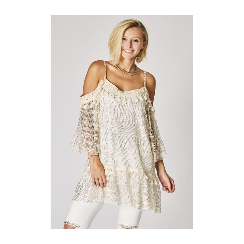 Knitting tunic with ponpon and shell