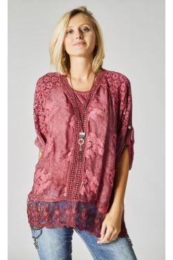 Flowers emb. silk blouse