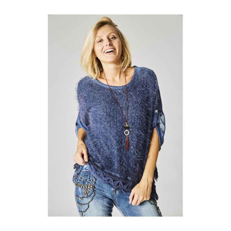 Open lace back sweater