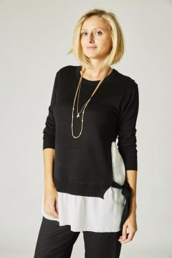 Sweater with white attached shirt