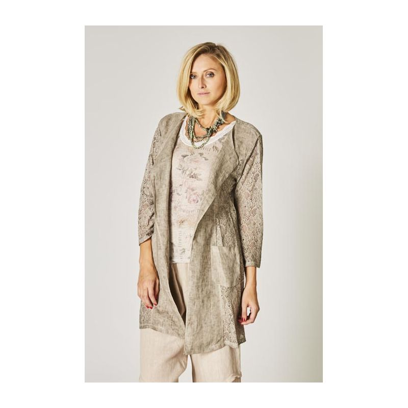 Linen and lace cardigan
