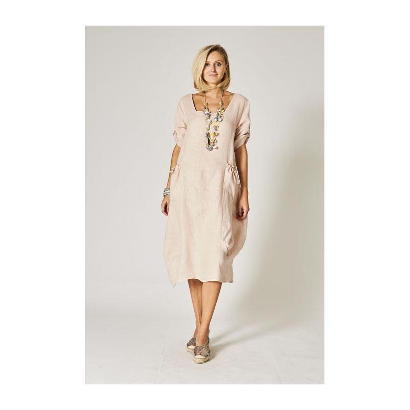 Linen dress, U neckline