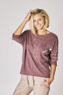 Sweater with Silver thread band on sleeve