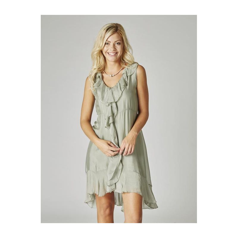 Silk Dress Ruffle neckline