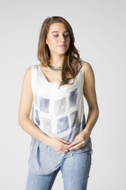 Watercolor squares print  top
