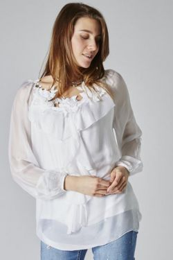 Silk blouse with flower embroidery