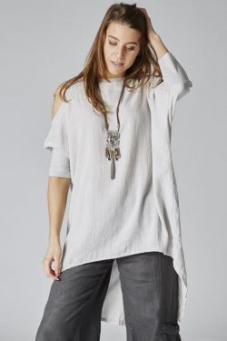 Cold shoulder tunic tie back