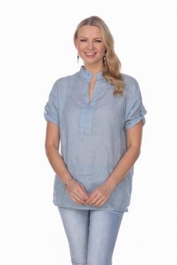 Star printed linen v tunic