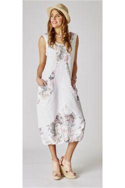 Long linen dress printed/plain