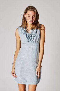 Short dress V-Line ruffles linen
