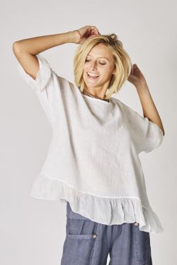 Linen top Lace back