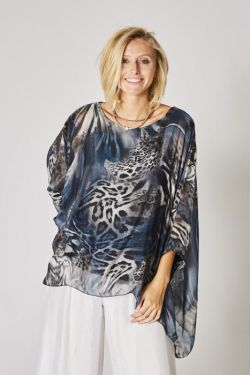 Animal printed silk kaftan