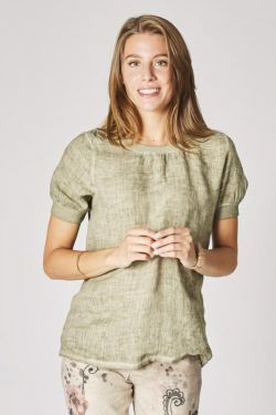 Linen top with scarf laced on the back