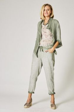 Linen pants, sequins band on side