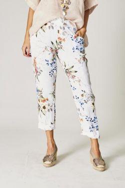 Flowers linen pants