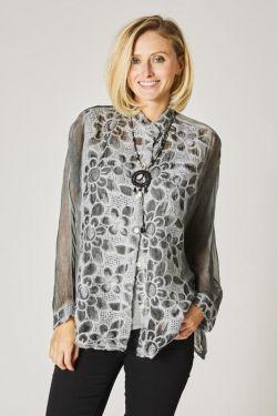 Twin set shirt, wood embroidery