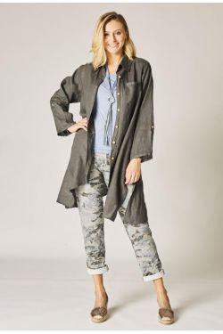 Button front linen jacket