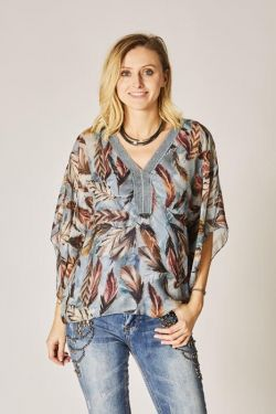 Feather print silk blouse