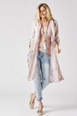 Long linen/lace cardigan