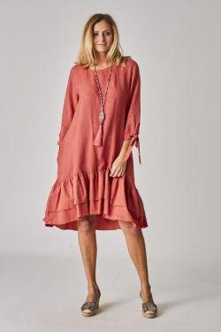 Linen dress, bottom ruffles