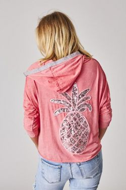 Hoodie cardigan, pineapple on back