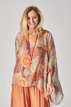 Colorful silk kaftan blouse