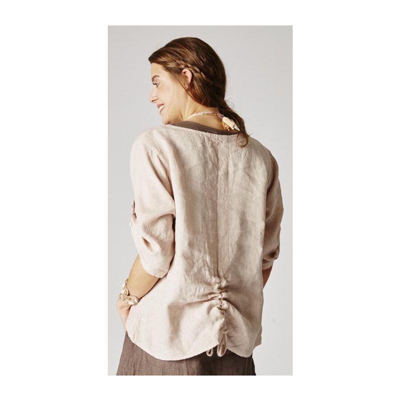 Top, one pocket & tle up back detail