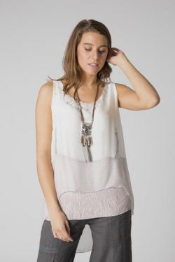 Sleeveless abstract watercolor blouse