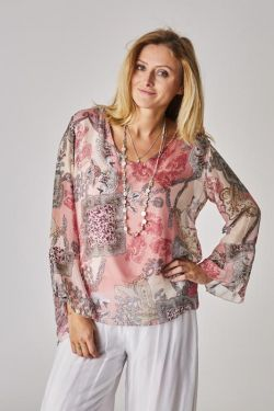 Parsley print slik blouse