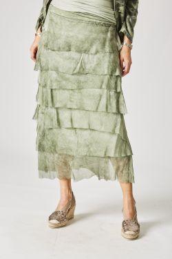 Long Silk ruffle skirt