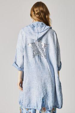 Linen cardigan, sequins...