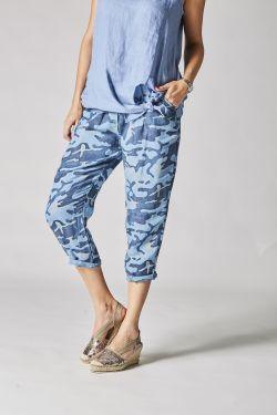 Military print linen pants