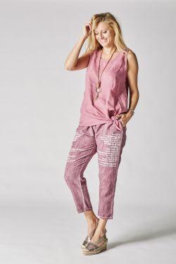 Linen pants writing on side