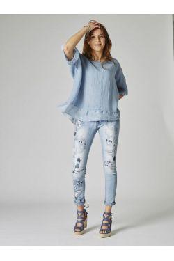Linen top Lace back