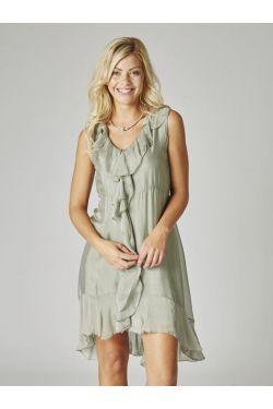 Silk Dress Ruffle neckline