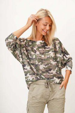 Beige Camo Print Sweater