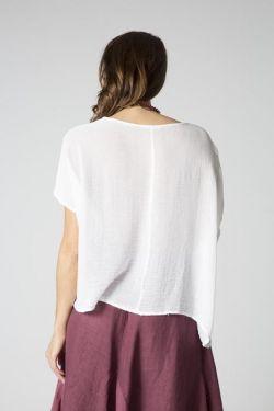 Top pocket blue back Linen
