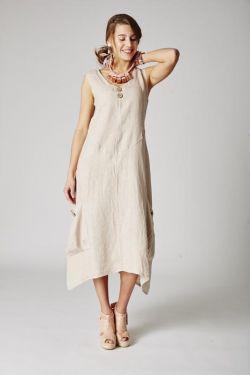 Dress asymmetric linen