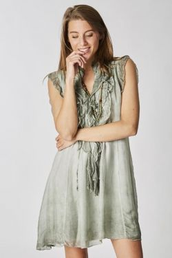 Silk long top without sleeves
