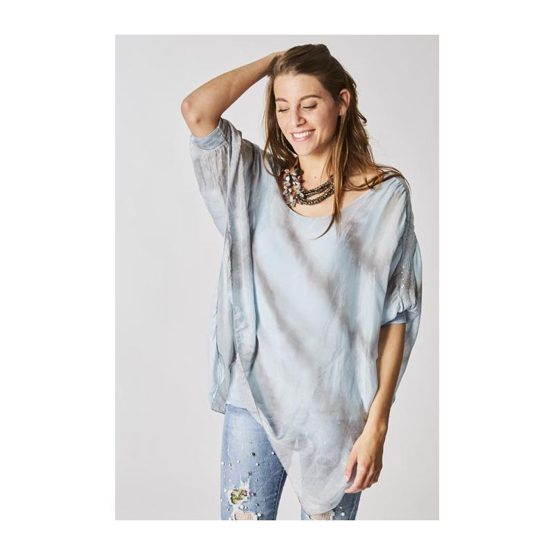 T/D striped silk blouse