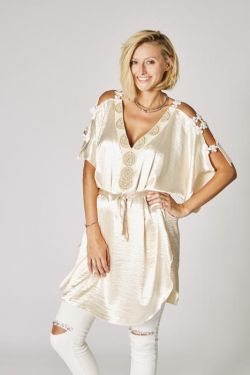 Satin cold shoulder tunic