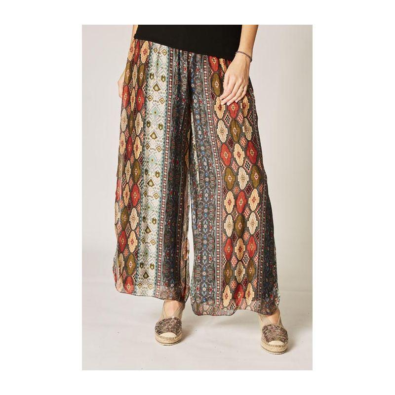 Printed silk pants, split on side