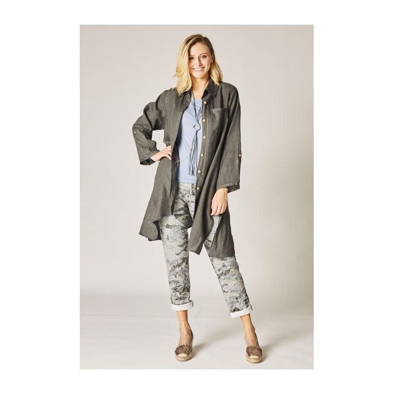 Button front linen jacket